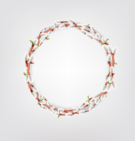Wreath made of willow twigs. Willow twigs round frame. Natural decoration. Vector illustration Stock Illustratie