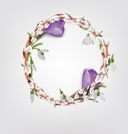 Wreath made of willow twigs, crocus, snowdrops. Natural decoration. Vector illustration
