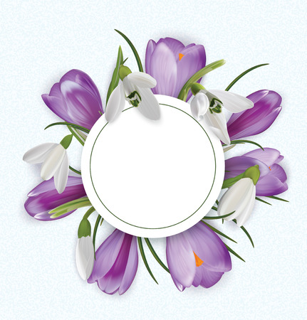 Round template with Bouquet of crocuses and snowdrops. Vector illustration