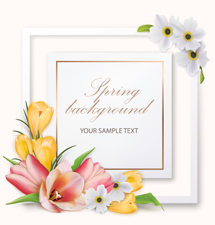 Spring background with tulips, crocuses, anemones and frame. Vector illustration