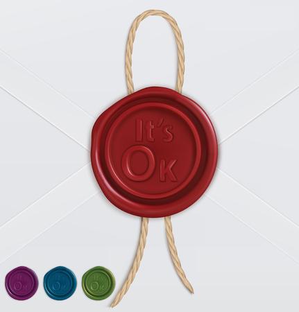 Set of wax seals vector illustration.