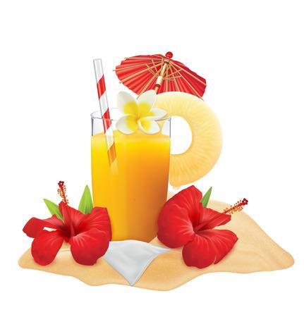 Glass of Pineapple juice and fresh pineapple, plumeria, gibiskus, umbrella, tube. Vector illustration Ilustrace
