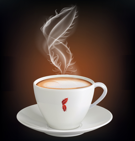 Cup of cappuccino with a steam in the form of a feather. Vector illustration