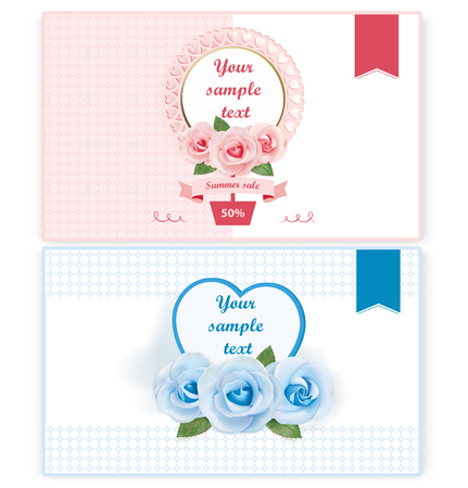 Summer sale banner with roses. Vector illustration Ilustracja