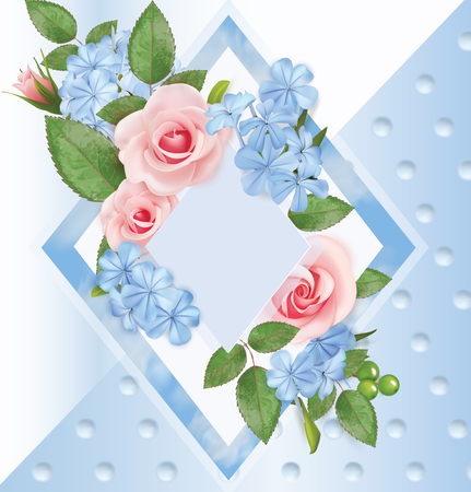 Floral background with roses, flocks and frame. Vector illustration