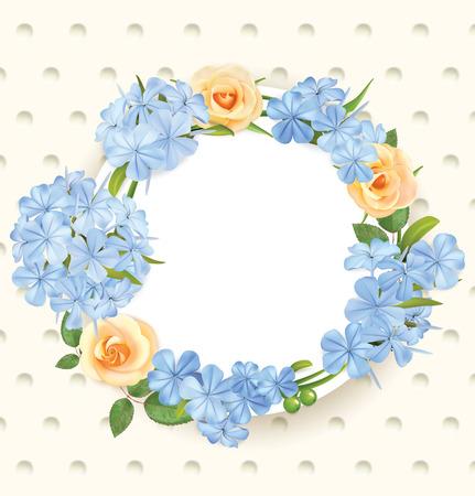 Floral background with roses, flocks and frame. Vector illustration