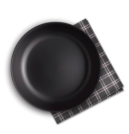Black plate and napkin. Vector illustration Illustration