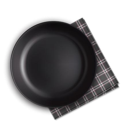 Black plate and napkin. Vector illustration Illustration