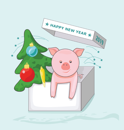 New Year greeting card with pig and Christmas tree in the greeting box. Vector illustration Ilustracja