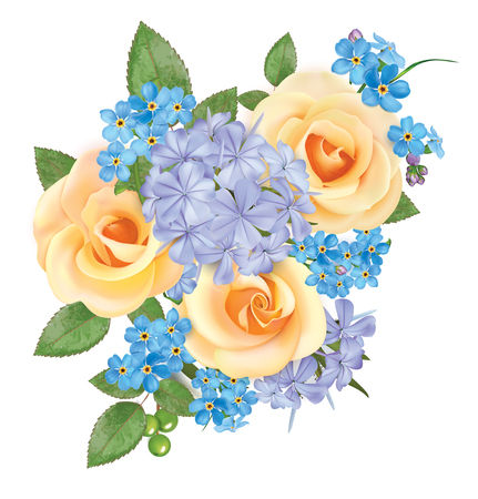 Bouquet of roses, blue forget me and phloxes. Vector illustration