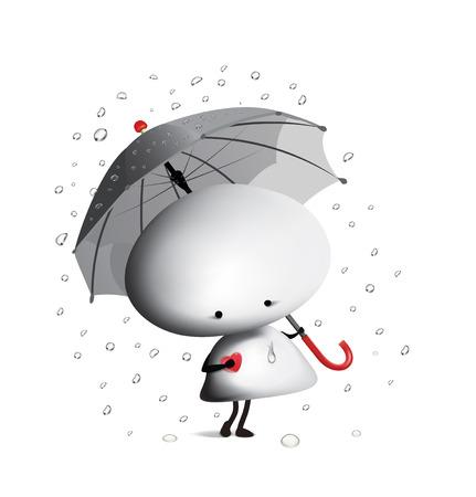 Little man with an umbrella. Vector illustration Ilustrace