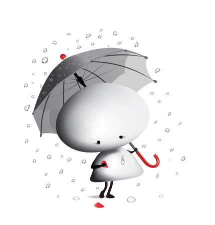 Little man with broken heart and umbrella. Vector illustration