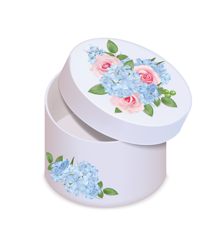 Empty paper box with floral decor. Vector illustration