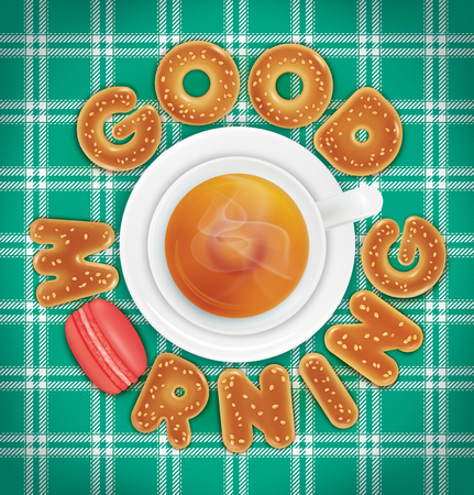 Good morning of cookies and a cup of tea on a green tablecloth. Vector illustration