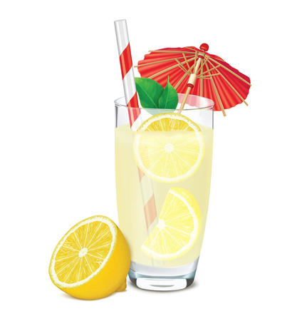 Transparent glass of lemonade with lemons, leafs, umbrella and straw. Vector illustration Ilustracja