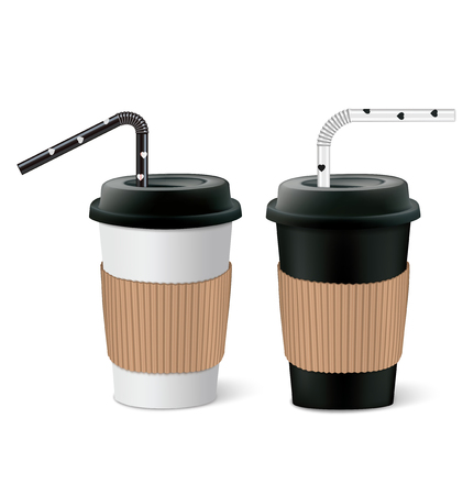 Paper cups with cover and tubes. Vector illustration