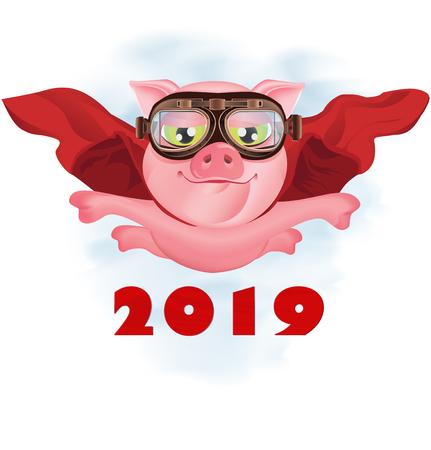 Super-cochon volant dans une cape rouge. Carte de voeux de Noël. Illustration vectorielle