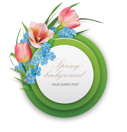 Spring background. Round template with Bouquet of tulips and foget-me-not. Vector illustration