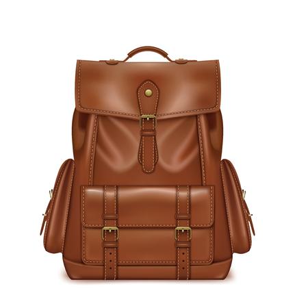 Brown Leather Backpack.  3d vector illustration Illustration