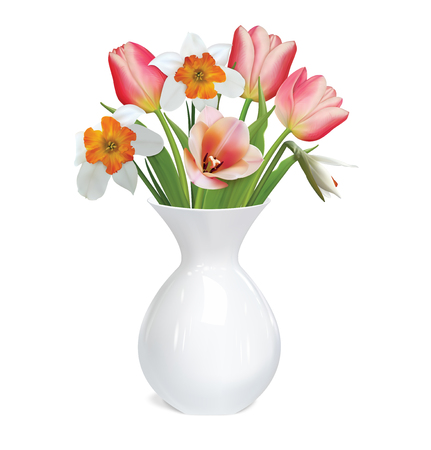 Tulips flowers, white daffodils (Narcissus poeticus) flowers in white vase. 3D vector illustration