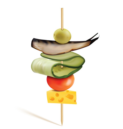 Canape with cheese, cherry tomatoes, fish and olive. Vector 3D illustration Ilustracja