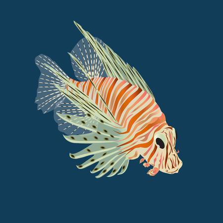 Aquarius fish of fish-zebra on a blue background