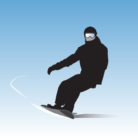 descent: The snowboarder on descent from the mountain