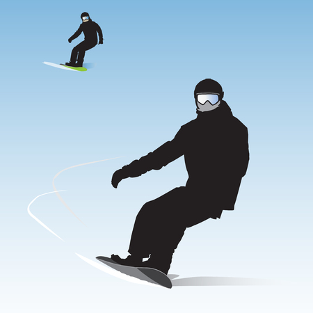 Two snowboarders on descent from the mountain