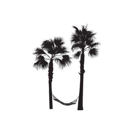 The black-and-white silhouette of two palm trees with a hammock Illustration