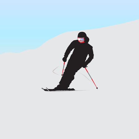 The mountain skier on descent from the mountain