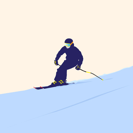descent: The mountain skier on descent from the mountain