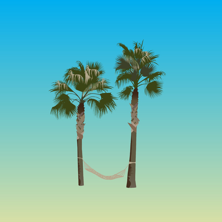 Two palm trees with a hammock in color
