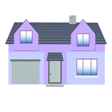 mansard: The building with a water door, the indoor parking space and two dormer-windows Illustration