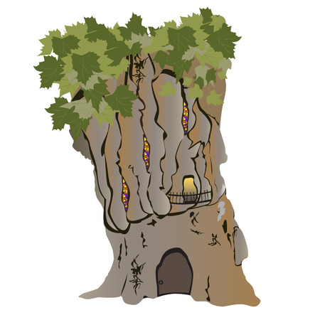 The fantasy house in a huge tree of a plane tree Illustration