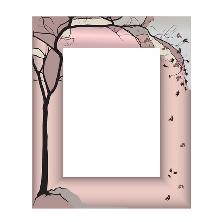 nude outdoors: The frame in the Japanese style - an autumn maple with the foliage broken by wind