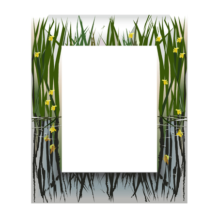 silver frame: The frame with lake flowers on silver