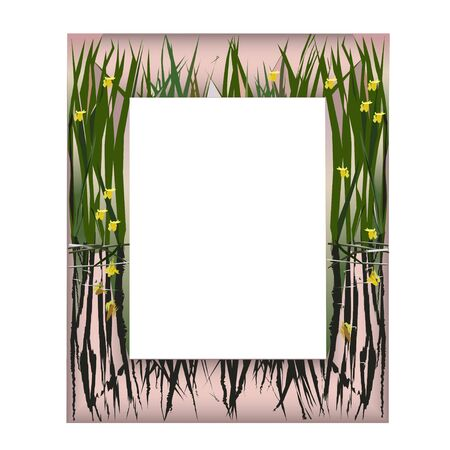 colorful frame: The frame with lake flowers on bronze