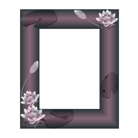 nenuphar: Pale frame with flowers of a water-lily on a dark claret color