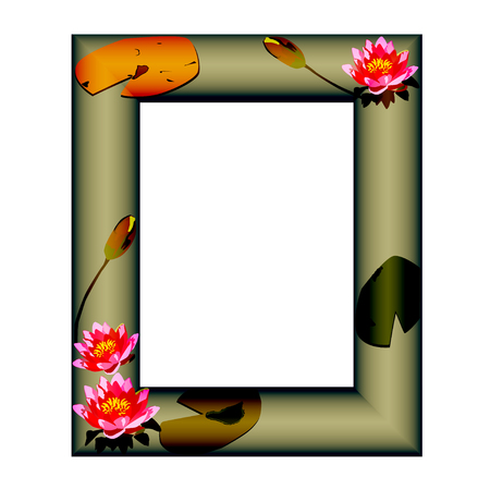 nenuphar: Bright frame with flowers of a water-lily on a dark green color