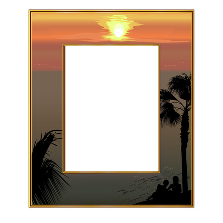 subtropics: Photoframe: the sea coast at sunset and loving couple under a palm tree Illustration