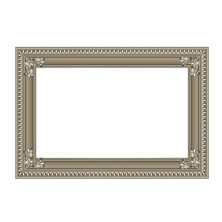 silvery: Decorative rectangular frame of silvery color with finishing on corners Illustration