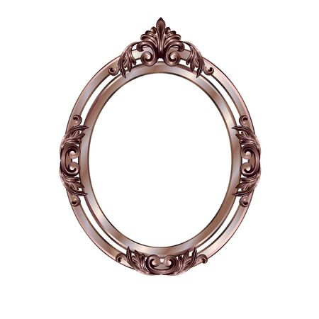 Decorative frame of a round form of bronze color with finishing on an internal circle, the vector image