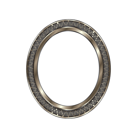 Decorative frame of a round form of silvery color with finishing on an internal circle, the vector image