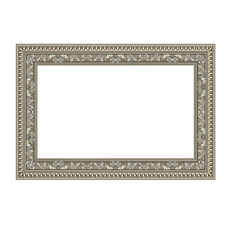 Squared decorative frame of silvery color with finishing on perimeter, the vector image Illusztráció