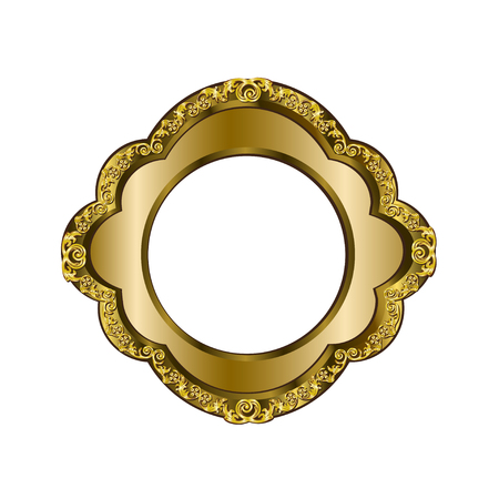 Decorative frame of a round form of golden color with finishing on external perimeter, the vector image Illustration