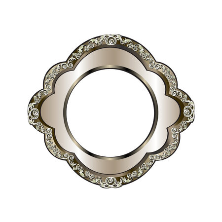 Decorative frame of a round form of silvery color with finishing on external perimeter, the vector image