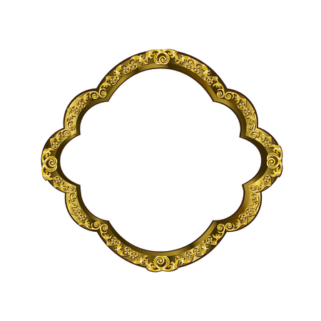 Decorative frame of rounded shape of golden color with finishing on perimeter, the vector image on a white background Illustration