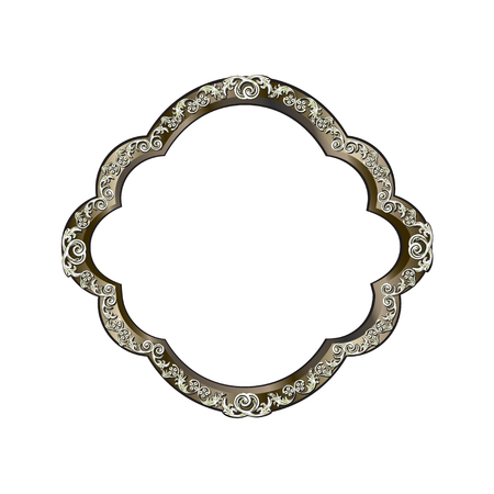 Decorative frame of rounded shape of silvery color with finishing on perimeter, the vector image on a white background Illustration