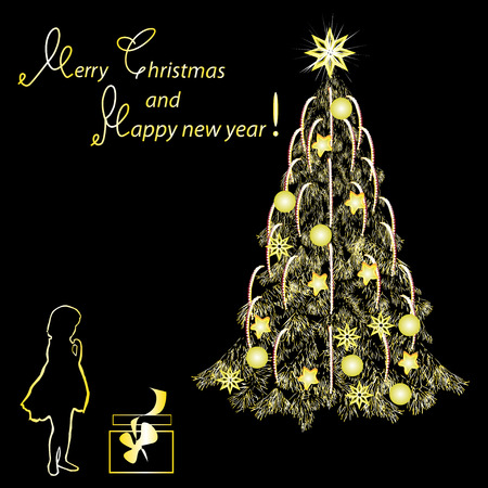 Festive card by Christmas and New Year, gold tone, the color vector image on a black background.