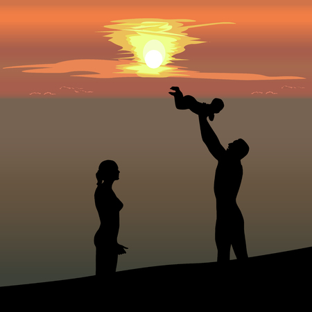Silhouette of married couple with the child against the background of the sea, the color vector drawing
